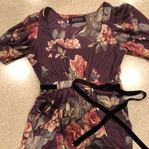 Zara Basics small dress black velvet tie